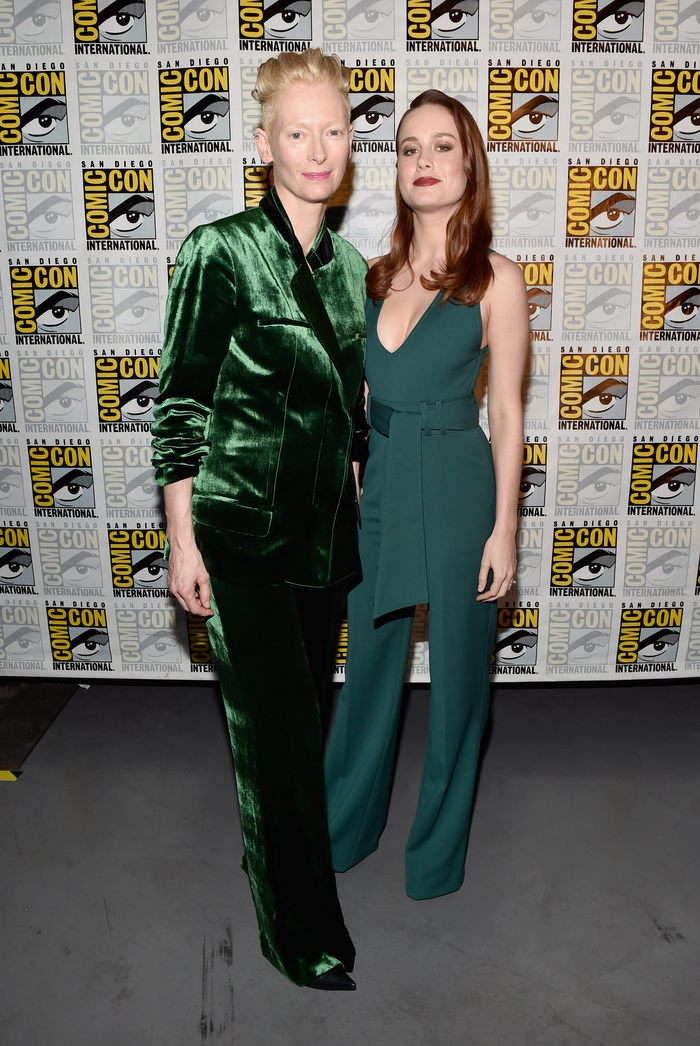 """SAN DIEGO, CA - JULY 23: Actresses Tilda Swinton from Marvel Studios' 'Doctor Strange"""" (L) and Brie Larson announced as Captain Marvel/Carol Danvers attend the San Diego Comic-Con International 2016 Marvel Panel in Hall H on July 23, 2016 in San Diego, California. ©Marvel Studios 2016 (Photo by Alberto E. Rodriguez/Getty Images for Disney)"""