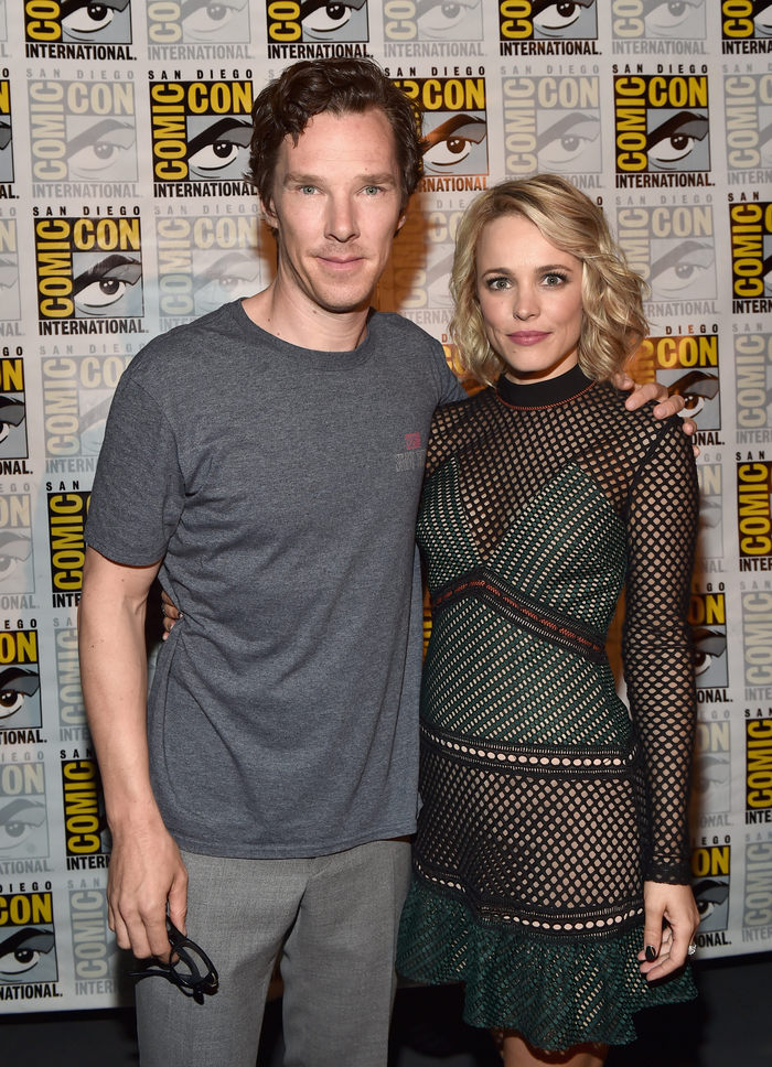 """SAN DIEGO, CA - JULY 23: Actors Benedict Cumberbatch (L) and Rachel McAdams from Marvel Studios' """"Doctor Strange"""" attend the San Diego Comic-Con International 2016 Marvel Panel in Hall H on July 23, 2016 in San Diego, California. ©Marvel Studios 2016 (Photo by Alberto E. Rodriguez/Getty Images for Disney) *** Local Caption *** Benedict Cumberbatch; Rachel McAdams"""