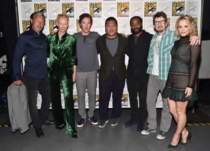 """SAN DIEGO, CA - JULY 23: (L-R) Actors Mads Mikkelsen, Tilda Swinton, Benedict Cumberbatch, Benedict Wong, Chiwetel Ejiofor, director Scott Derrickson and actress Rachel McAdams from Marvel Studios' """"Doctor Strange"""" attend the San Diego Comic-Con International 2016 Marvel Panel in Hall H on July 23, 2016 in San Diego, California. ©Marvel Studios 2016 (Photo by Alberto E. Rodriguez/Getty Images for Disney) *** Local Caption *** Mads Mikkelsen; Tilda Swinton; Benedict Cumberbatch; Scott Derrickson; Rachel McAdams; Chiwetel Ejiofor; Benedict Wong"""