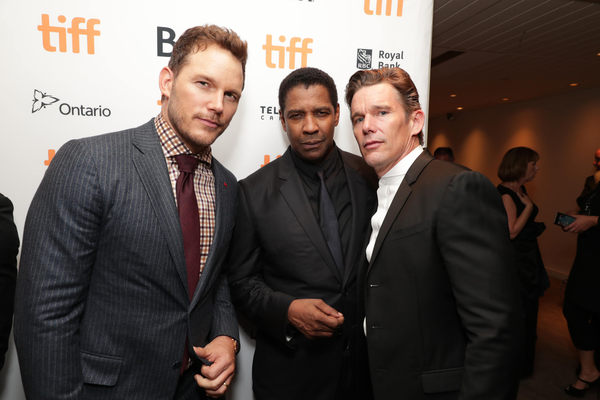 """Chris Pratt, Denzel Washington and Ethan Hawke are seen at MGM and Columbia Pictures' world premiere and opening night screening of """"The Magnificent Seven"""" at the 2016 Toronto International Film Festival on Thursday, Sep. 8, 2016, in Toronto, CAN."""