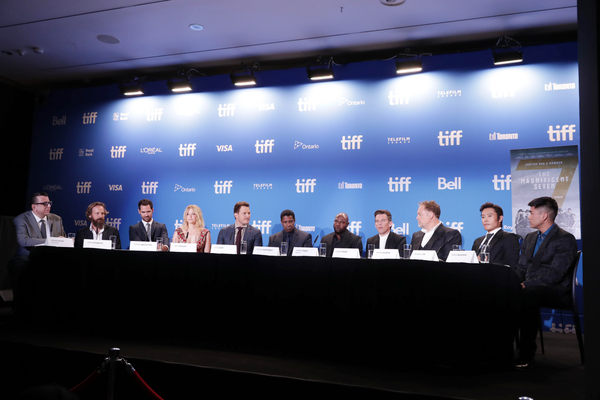 """Richard Crouse, Peter Sarsgaard, Manuel Garcia-Rulfo, Haley Bennett, Chris Pratt, Denzel Washington, Director Antoine Fuqua, Ethan Hawke, Vincent D'Onofrio, Byung-hun Lee and Martin Sensmeier speak at MGM and Columbia Pictures' world premiere and opening night screening of """"The Magnificent Seven"""" at the 2016 Toronto International Film Festival on Thursday, Sep. 8, 2016, in Toronto, CAN."""